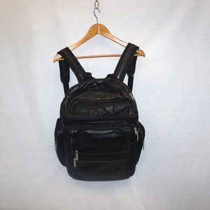 WILSON Black Leather XL Backpack Multi-Compartment